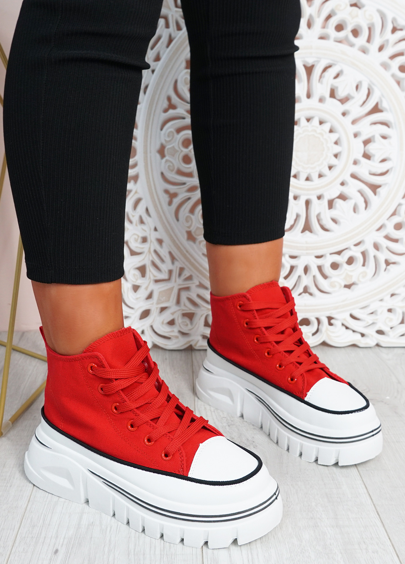 Kate Red Platform Lace Up Trainers