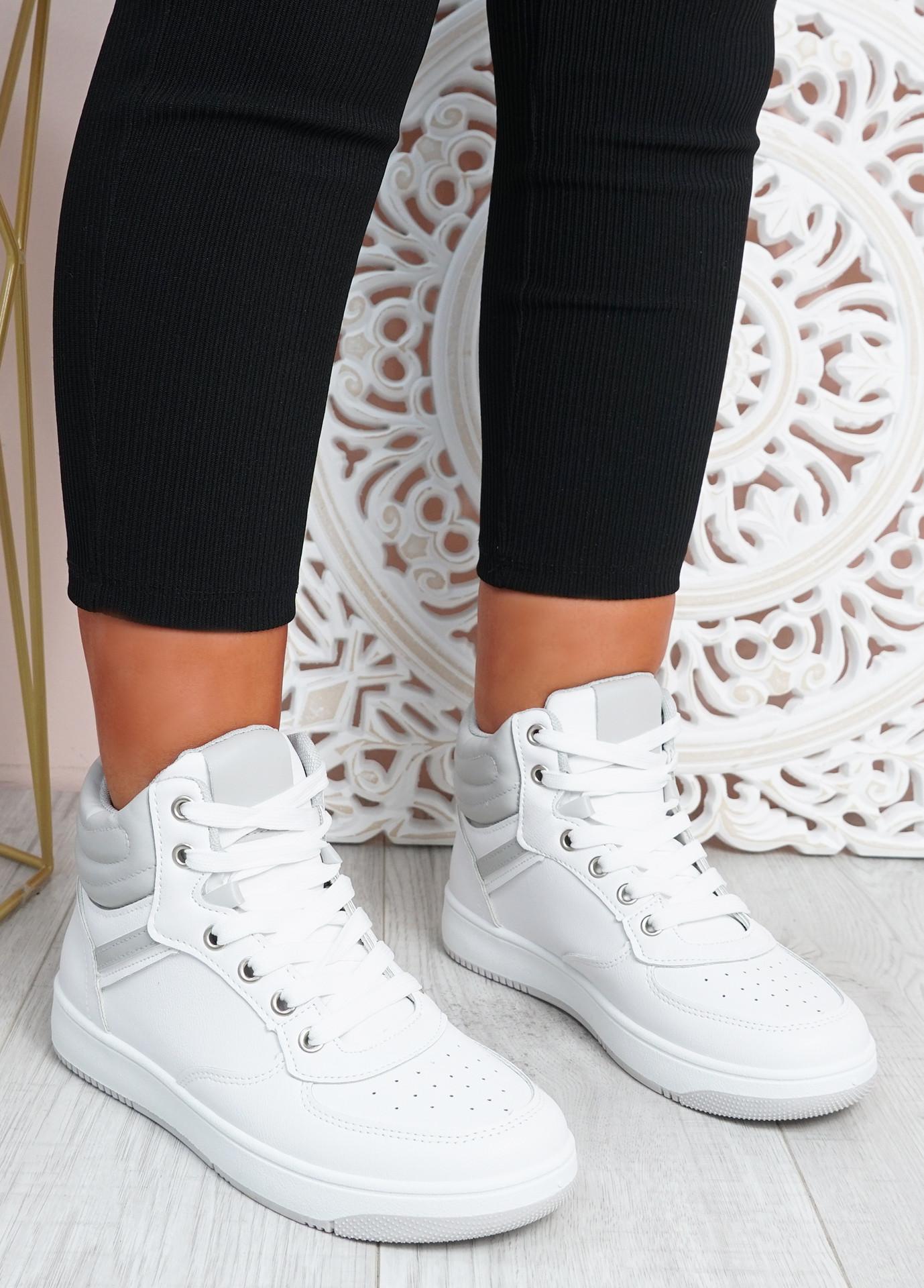 Malia White Grey Lace Up Trainers