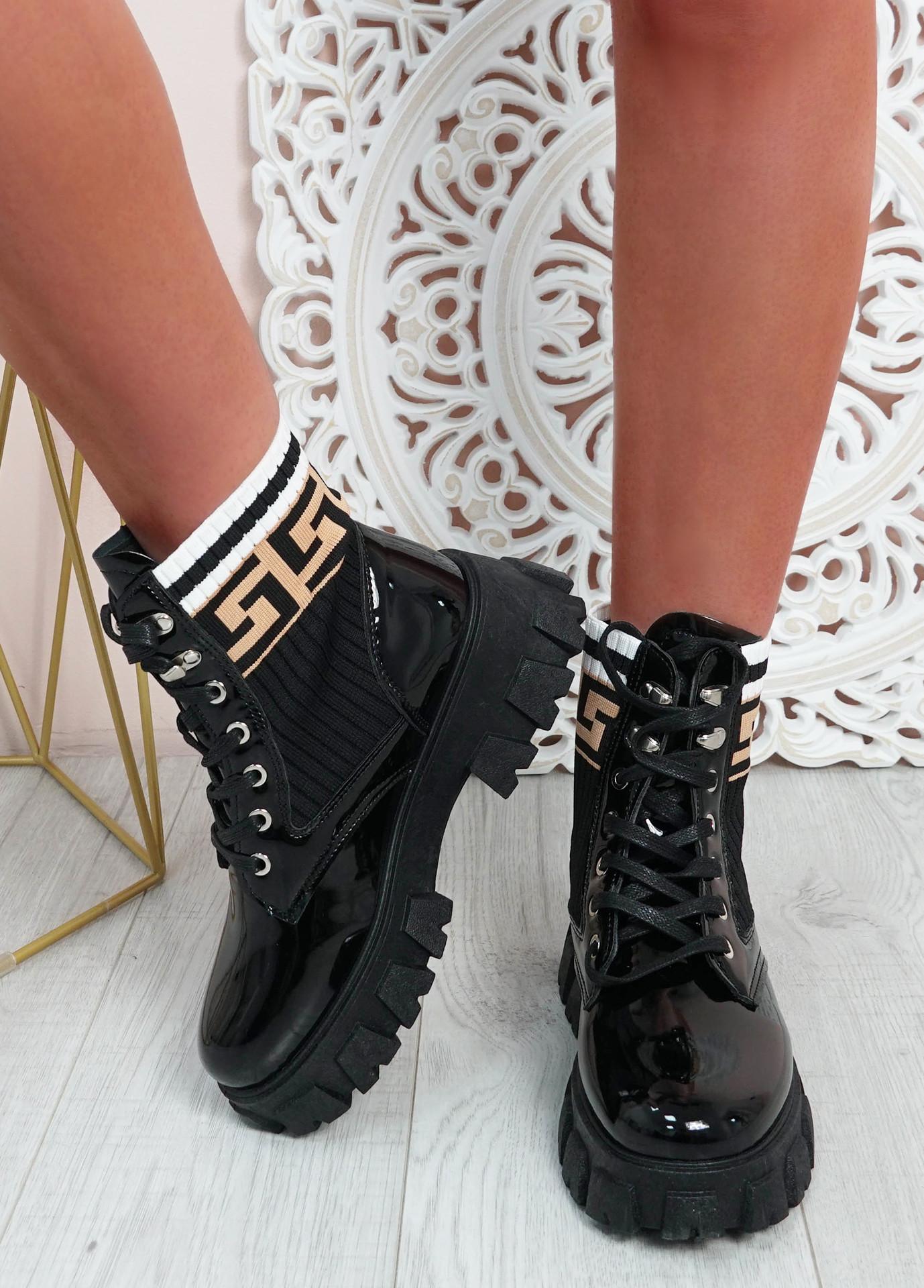 Morgan Black Tribal Platform Ankle Boots