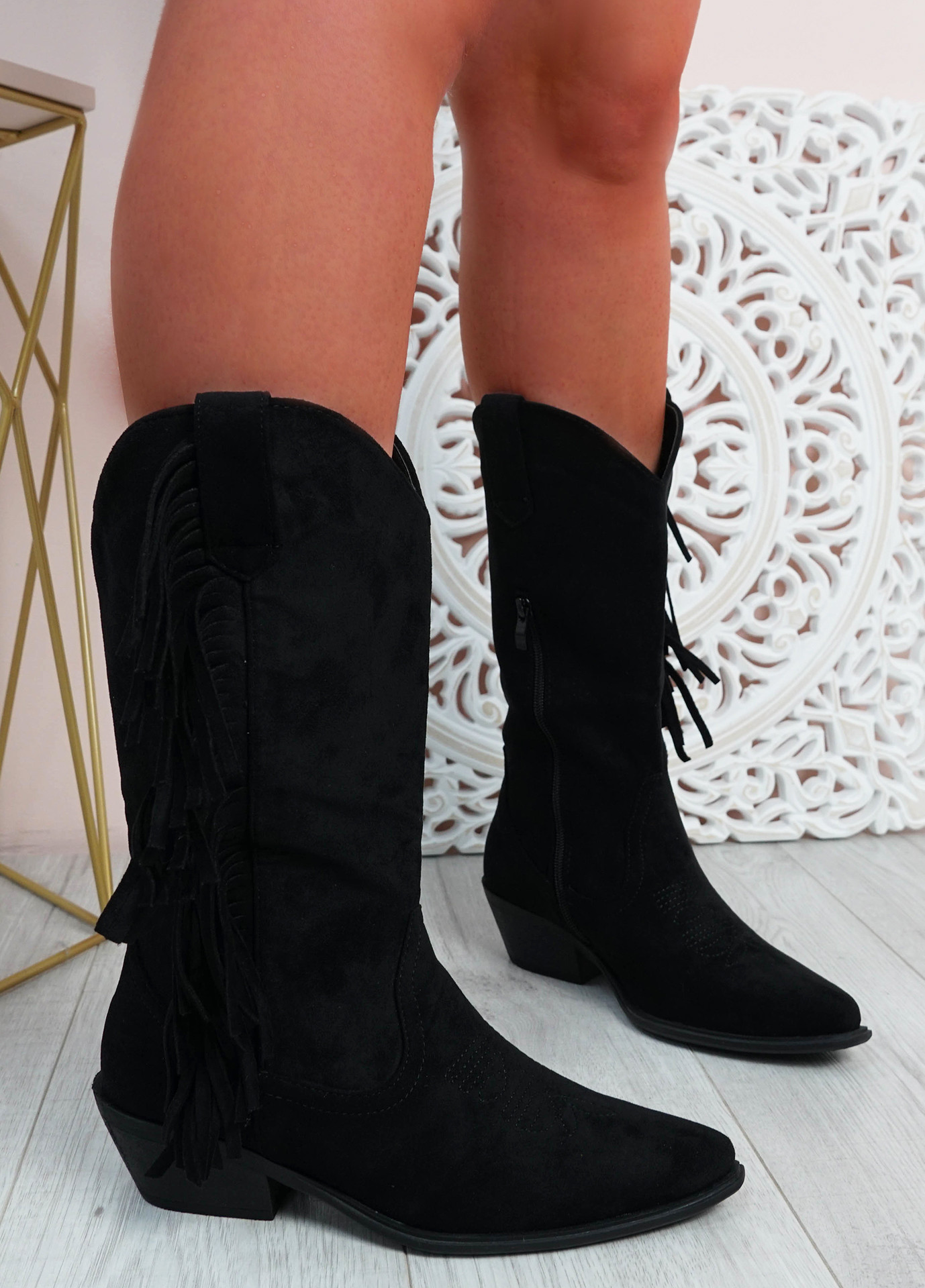 Jazlynn Black Fringe Mid Calf Boots