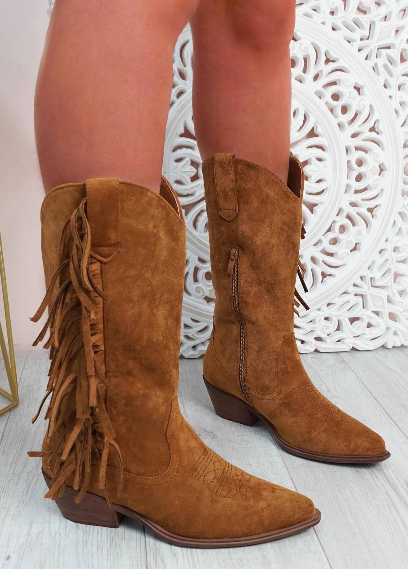 Jazlynn Camel Fringe Mid Calf Boots