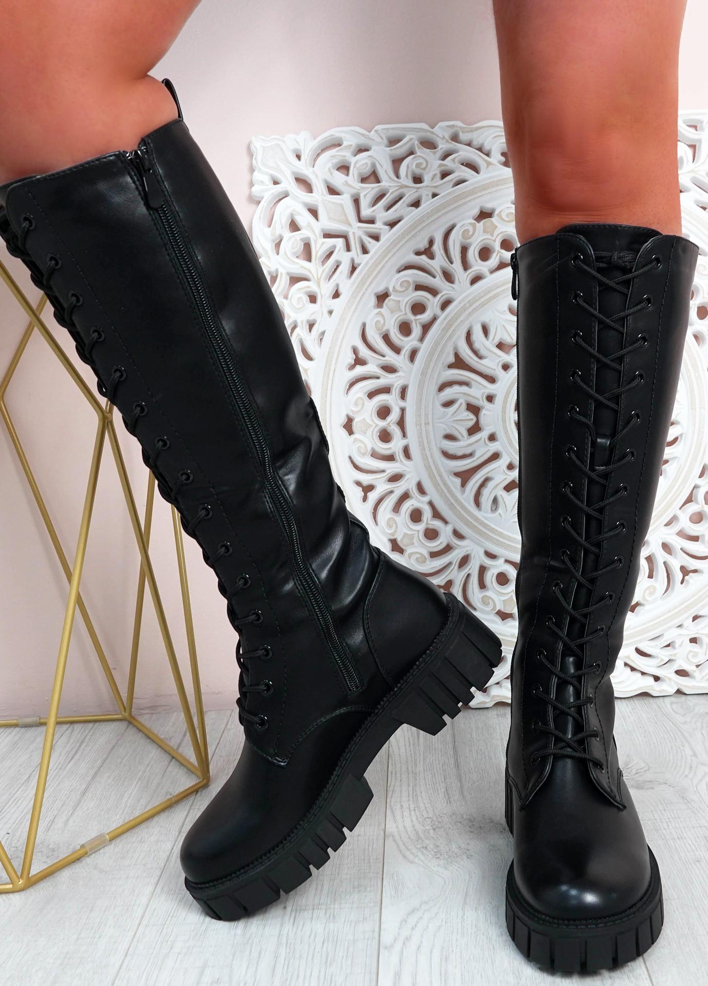 Priscilla Black Knee High Biker Boots