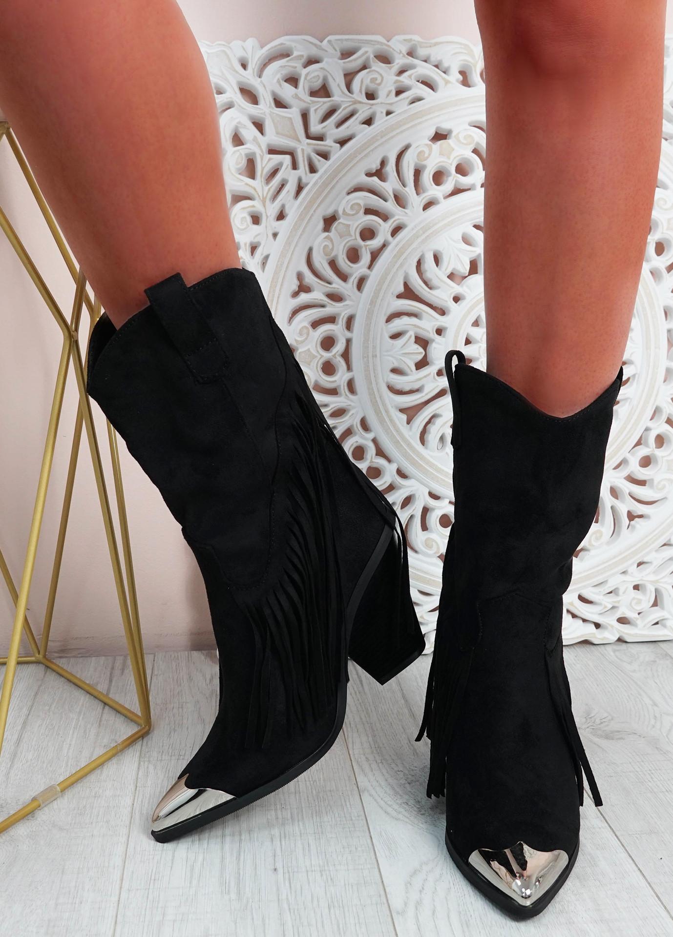 Chana Black Suede Fringe Mid Calf Boots