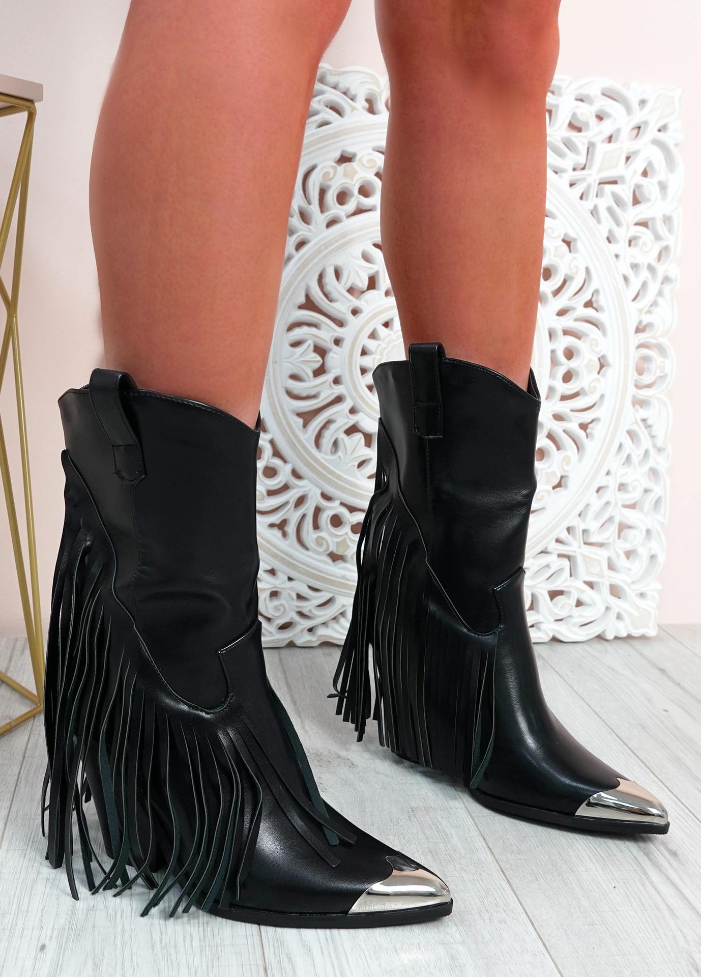 Chana Black Pu Fringe Mid Calf Boots