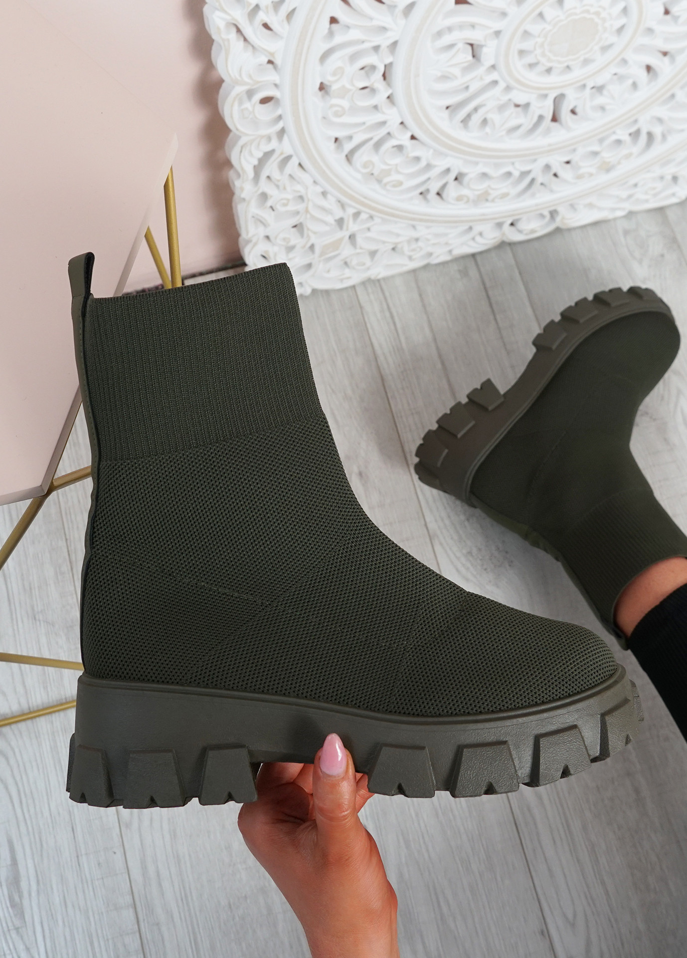 Tiana Blackish Green Knit Sock Ankle Boots