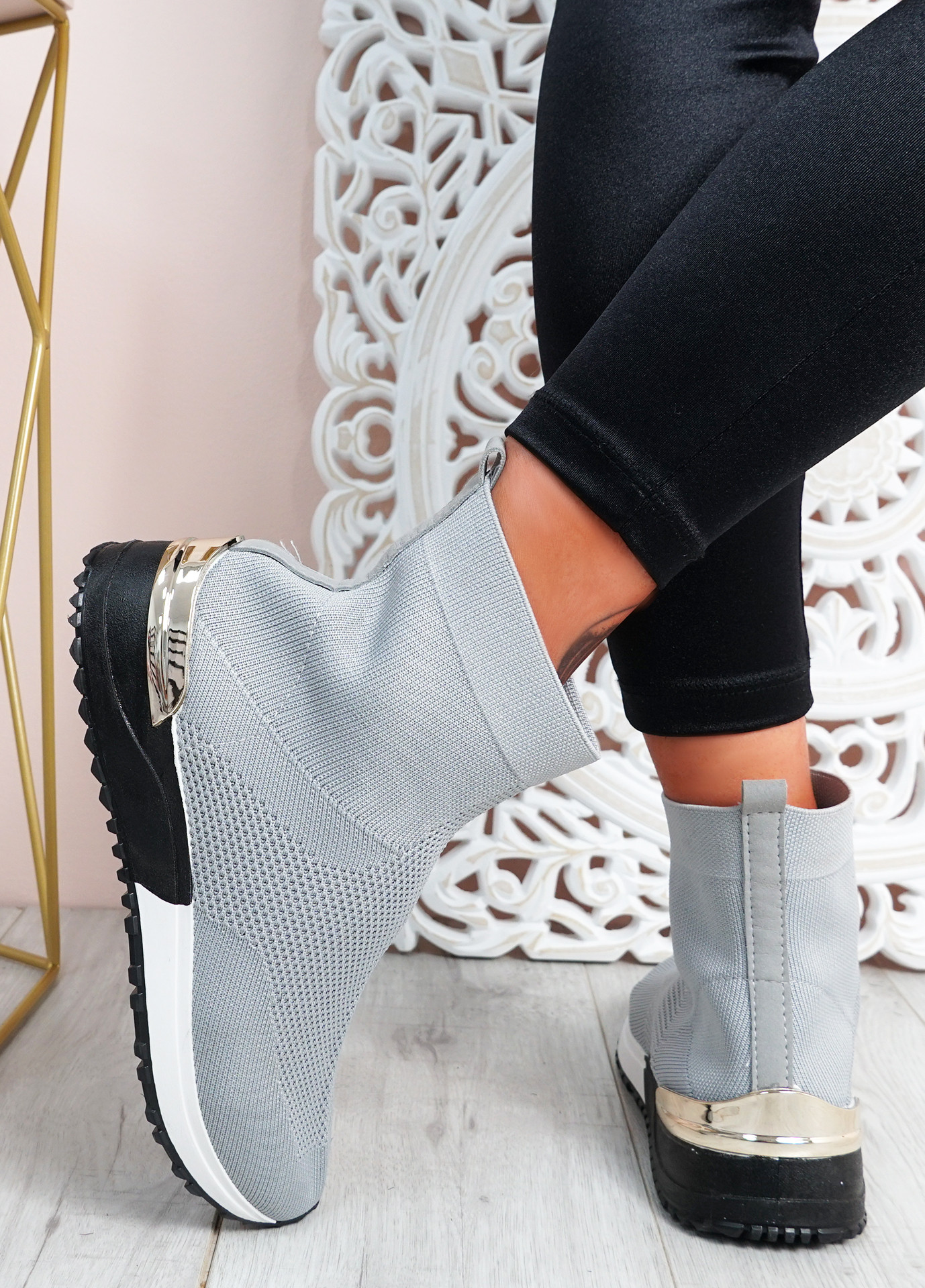 Denisse Grey Knit Wedge Trainers