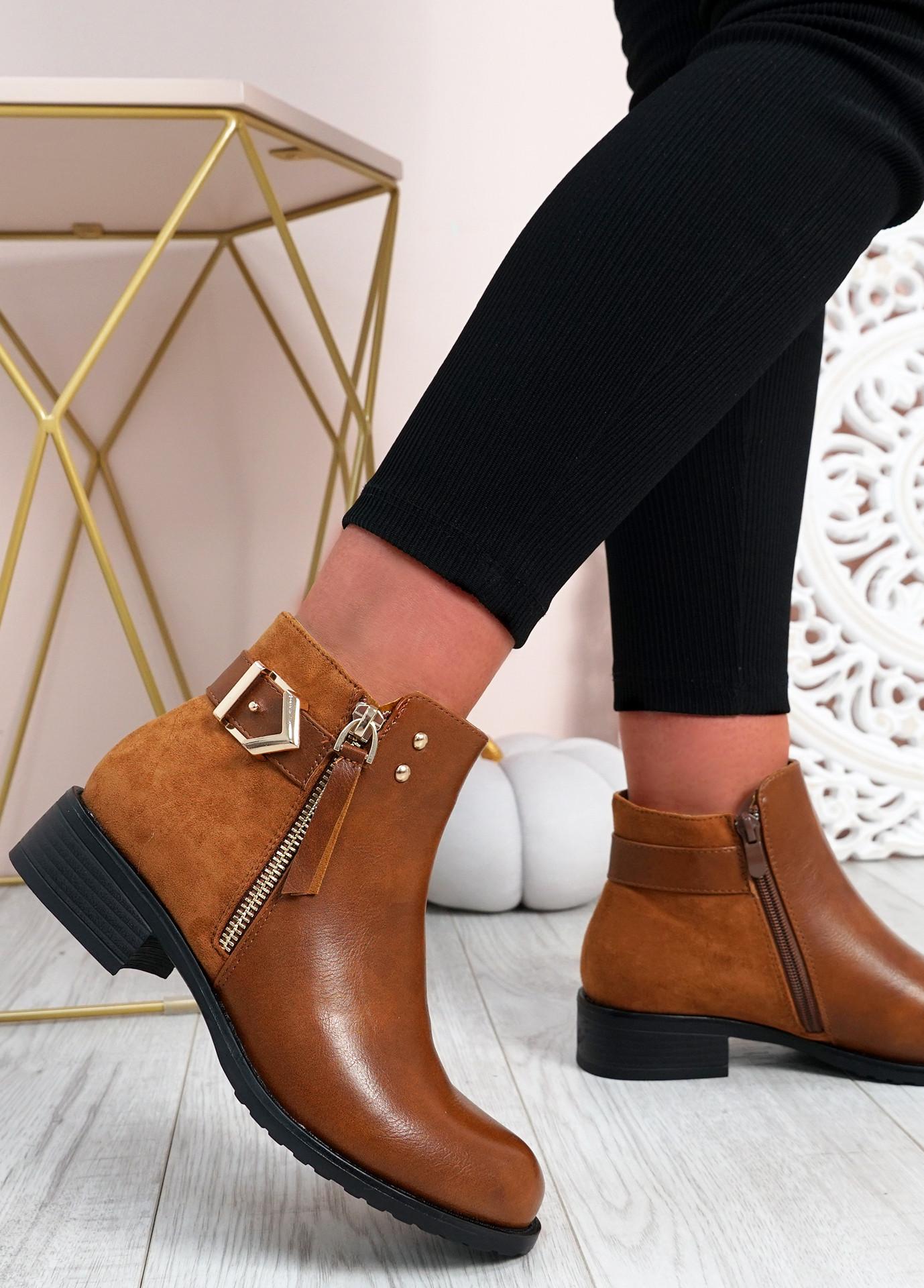 Cassandra Camel Pu Zip Ankle Boots