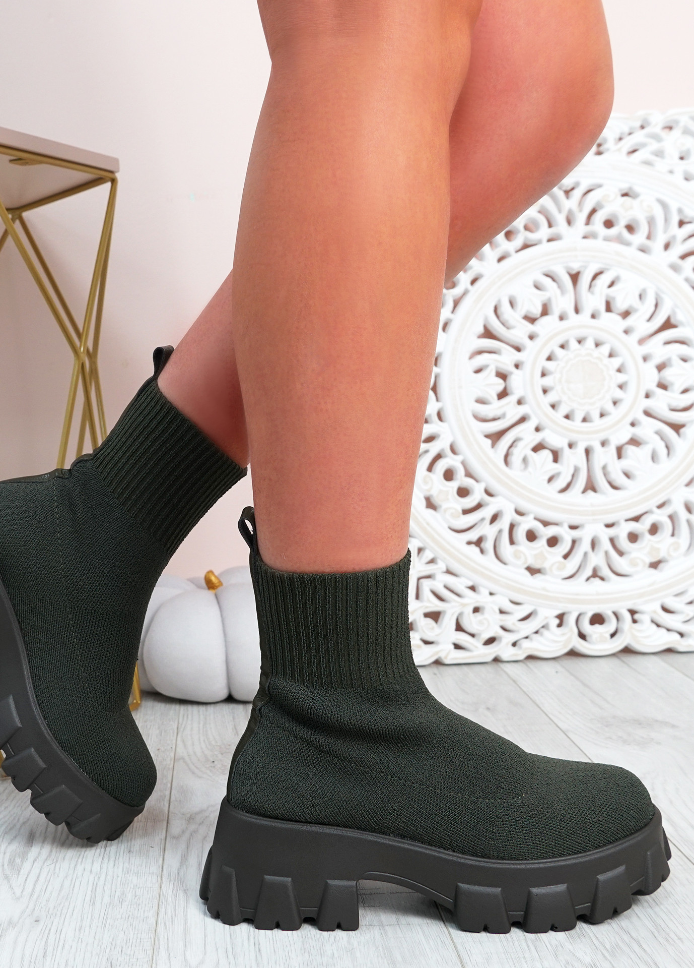 Erin Green Knit Sock Ankle Boots