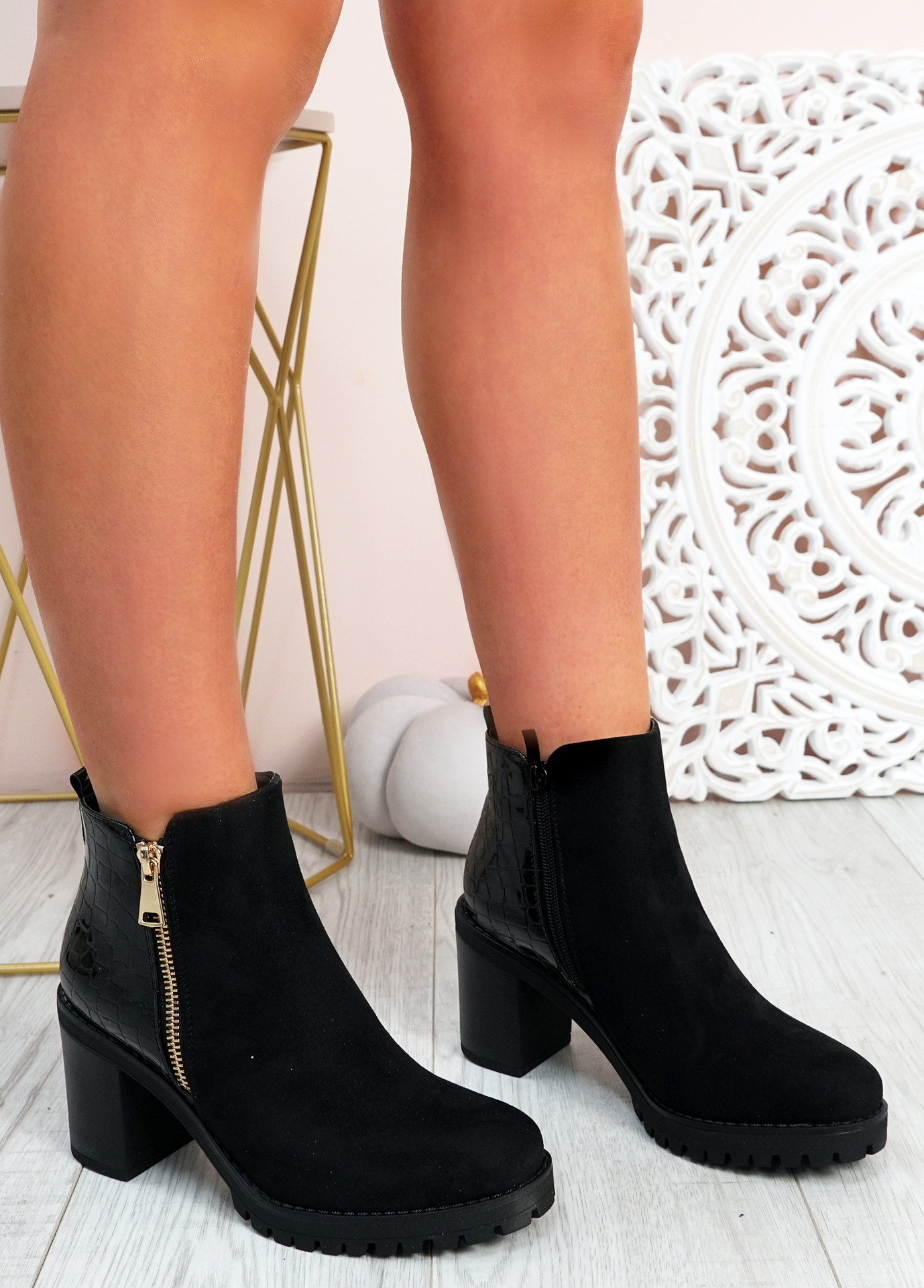 Makaila Black Suede Block Heel Ankle Boots
