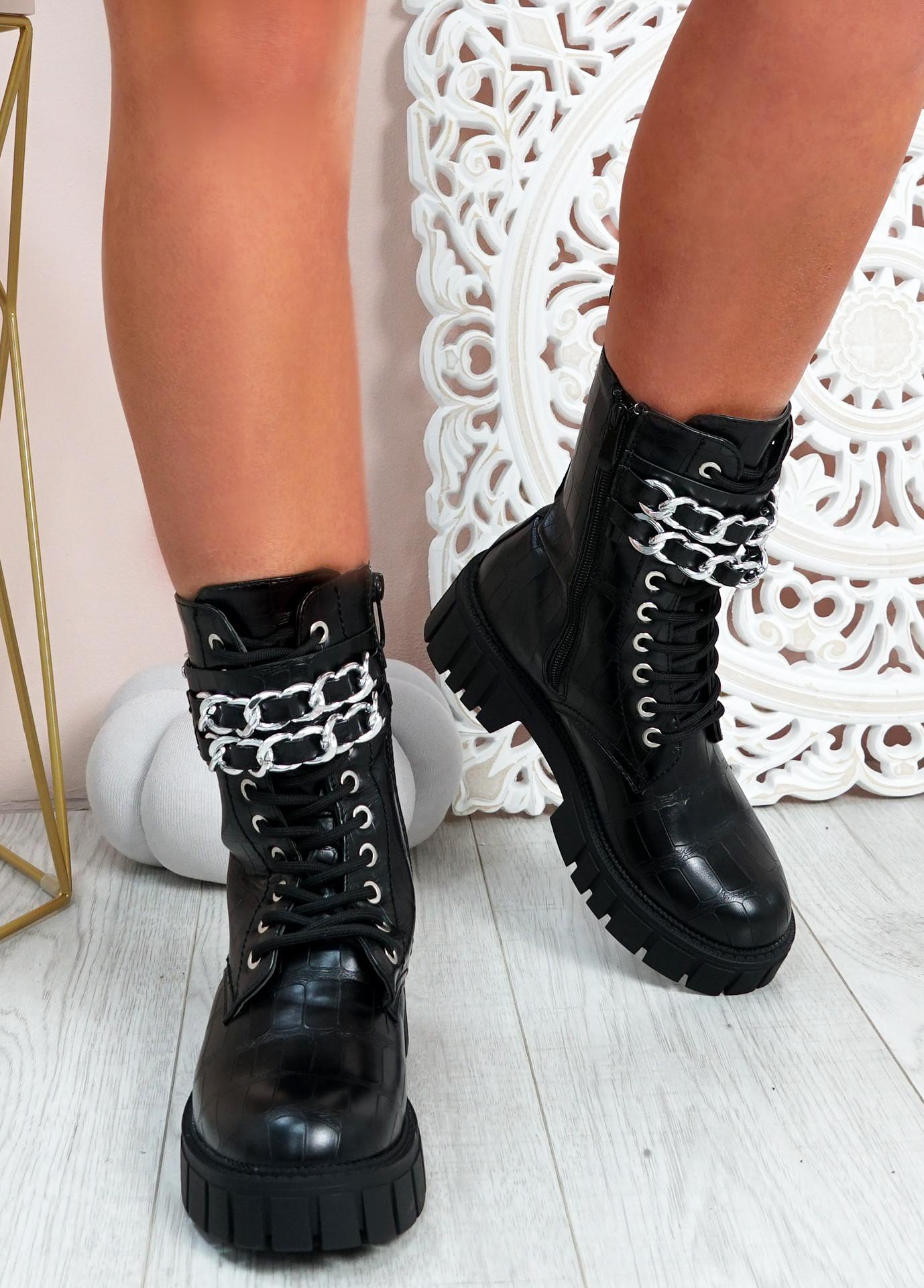 Janae Black Croc Biker Ankle Boots