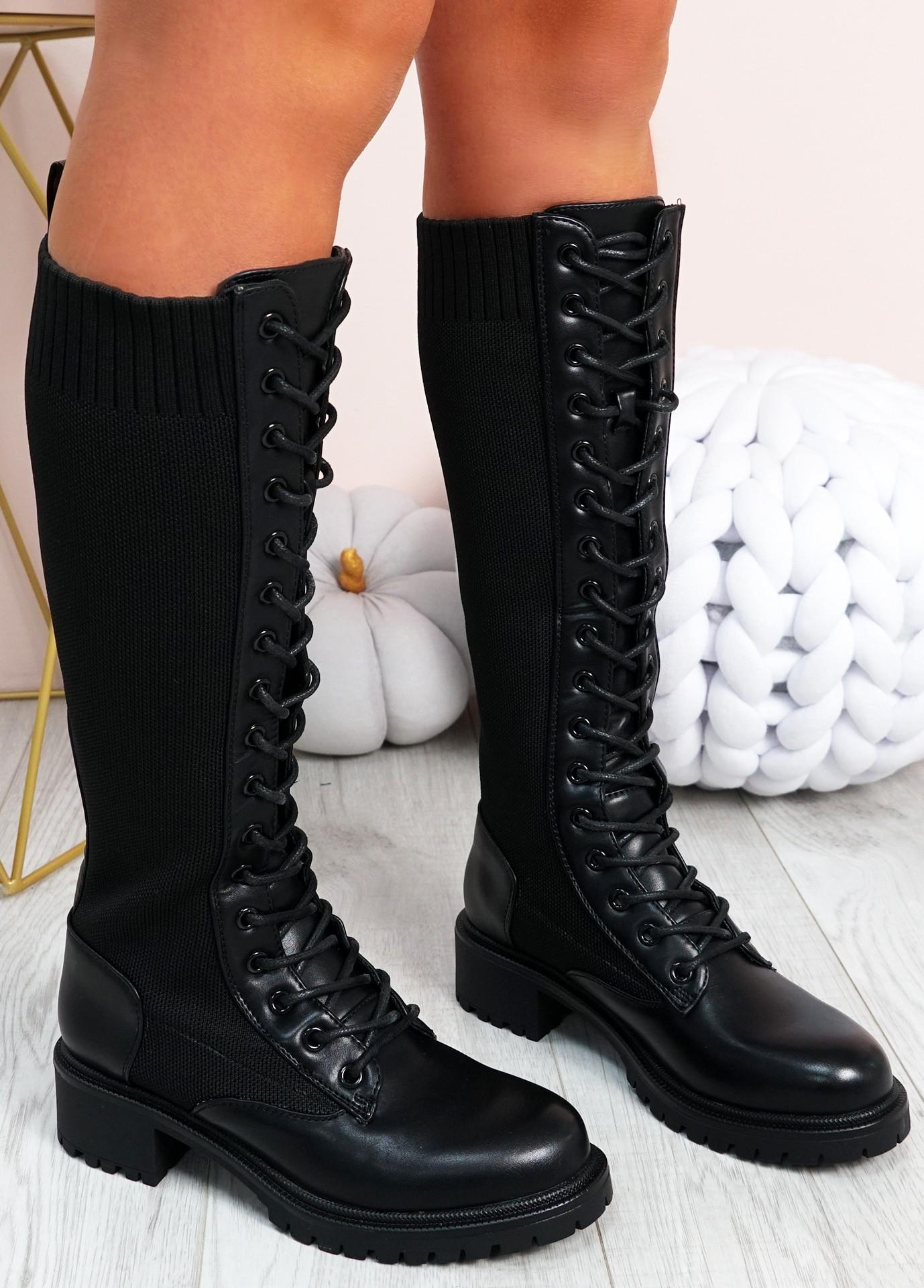 Misty Black Pu Knit Mid Calf Boots