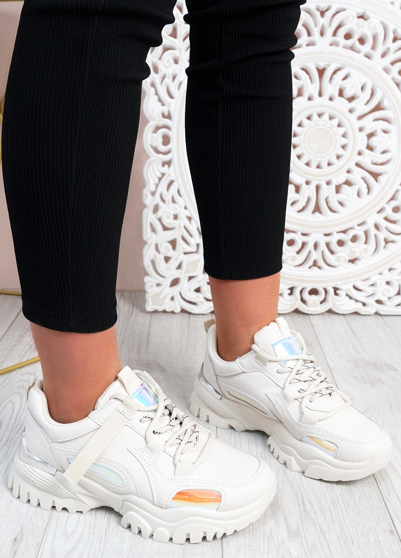 Luther Beige Chunky Trainers