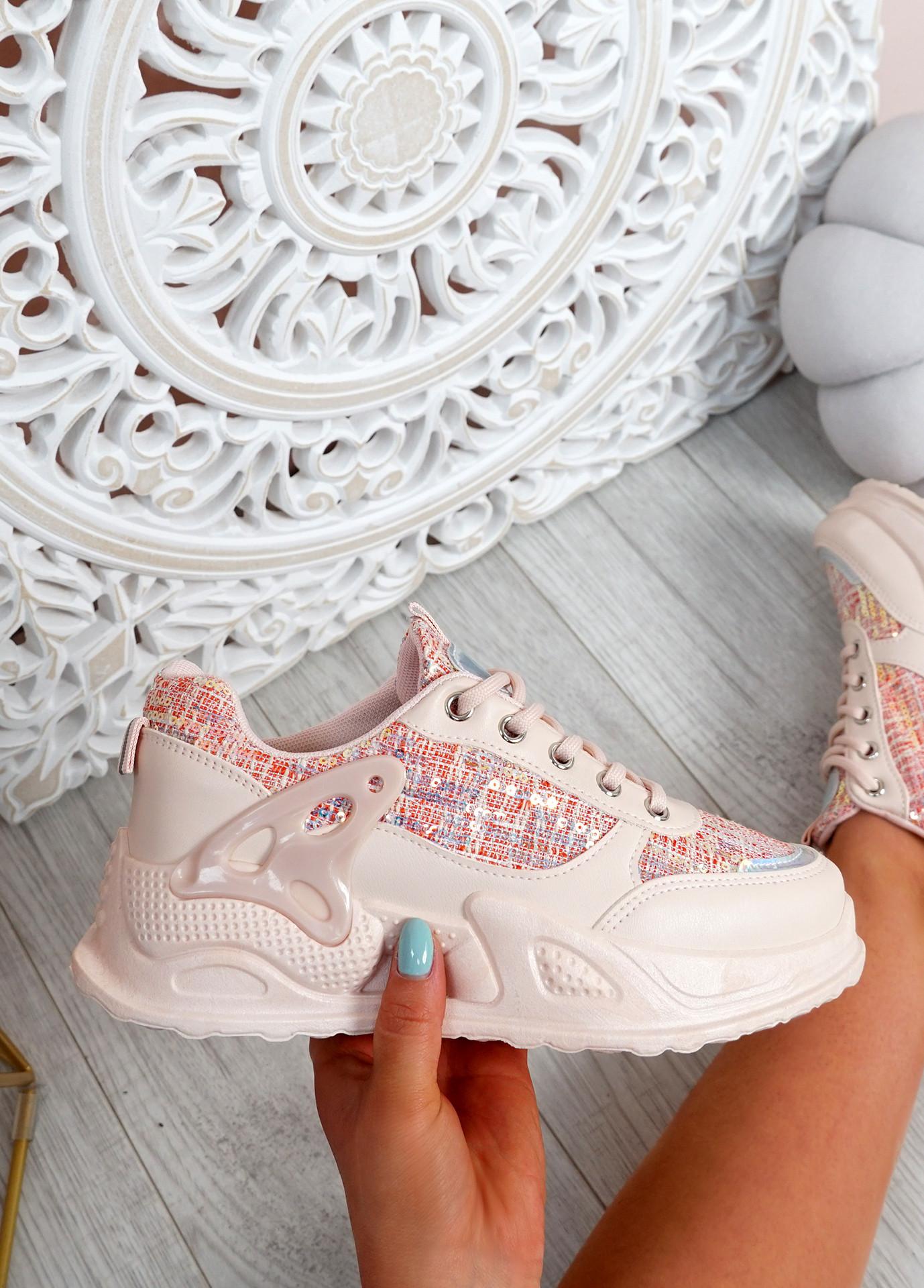 Hanna Pink Chunky Trainers