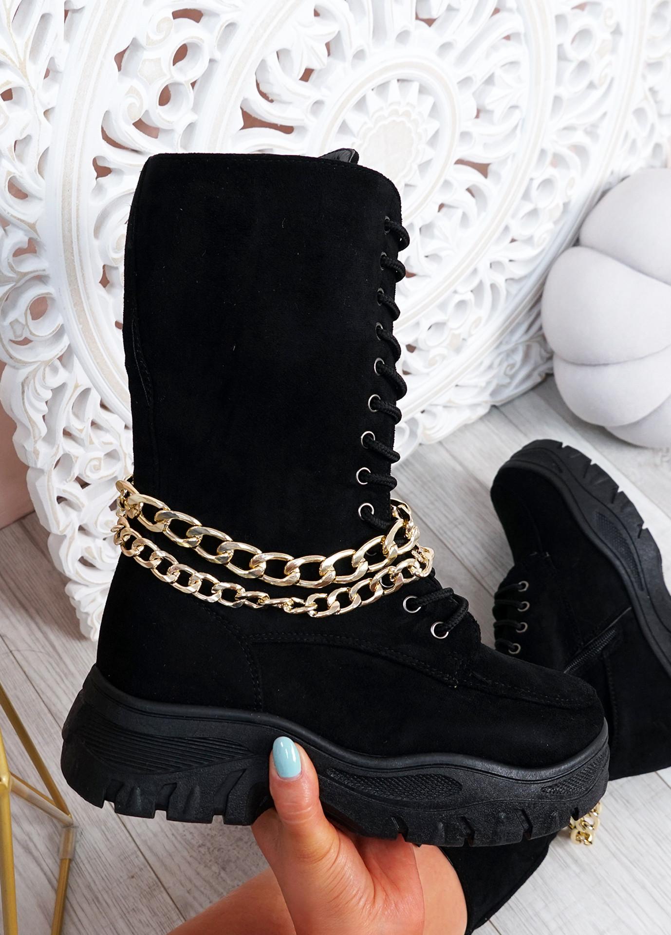 Paola Black Mid Calf Chain Boots