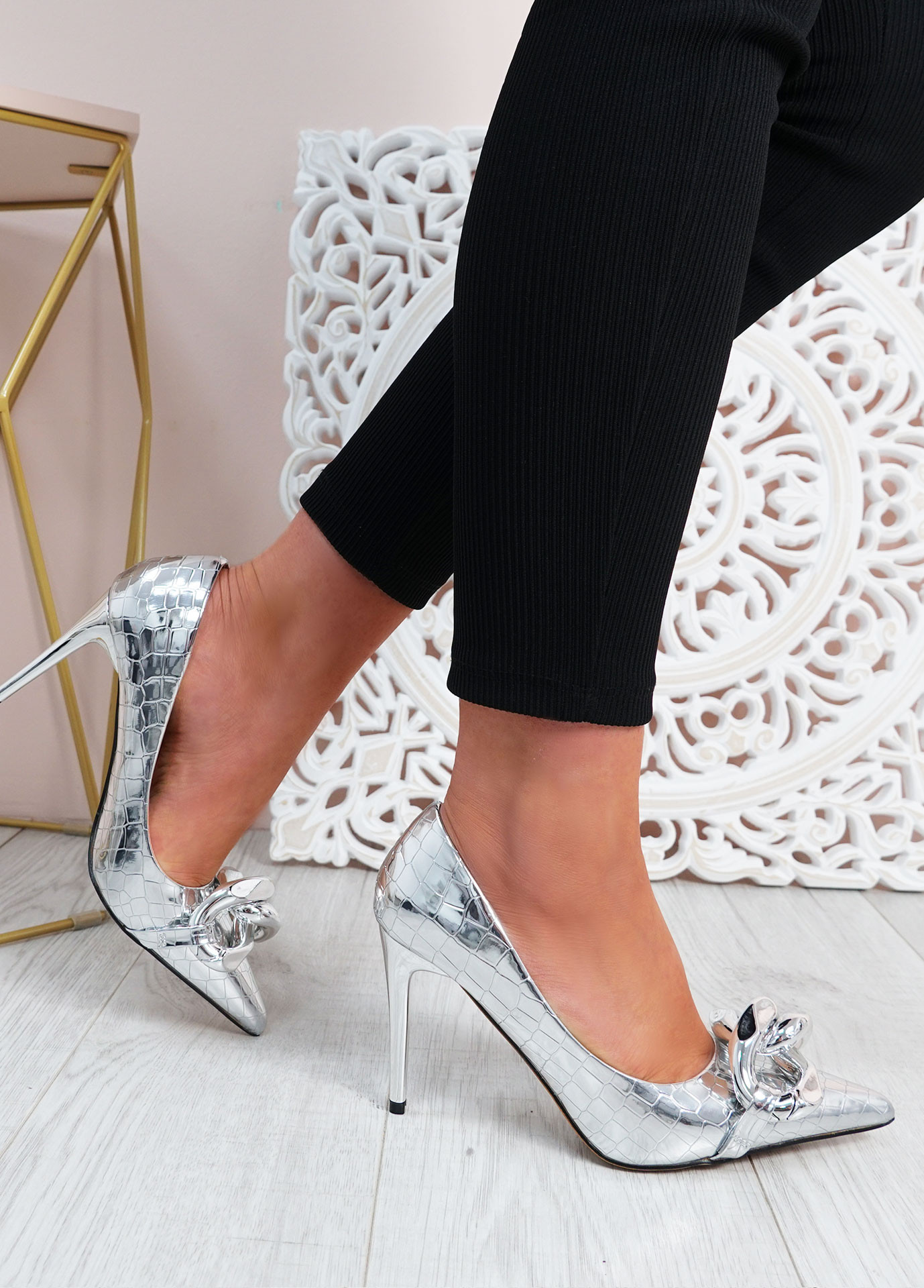 Antonia Silver High Heels Chain Shoes