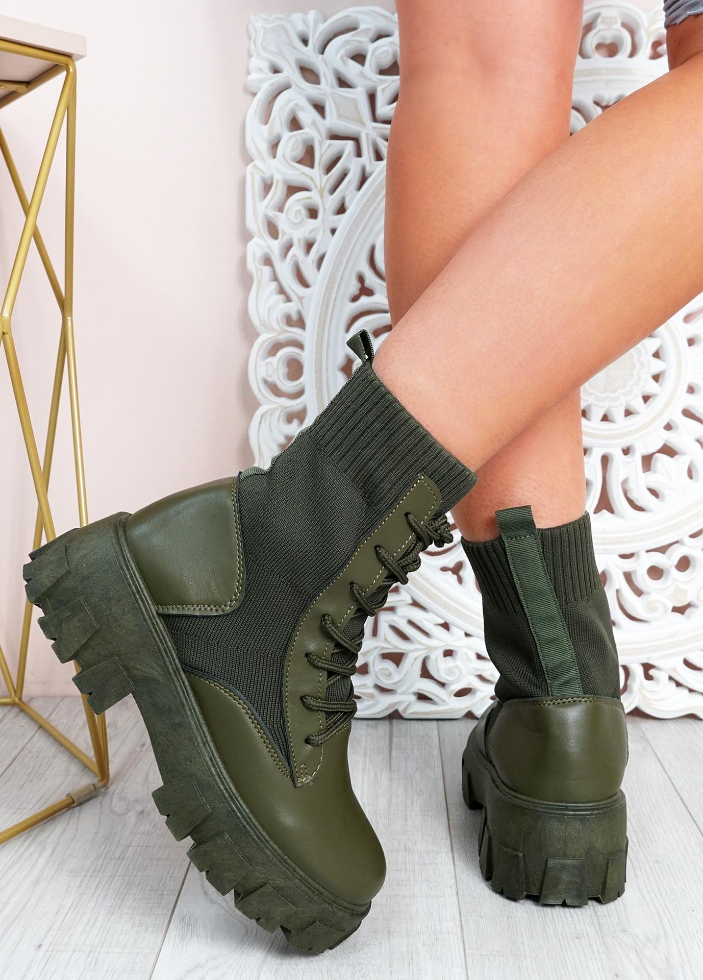 Savannah Green Chunky Boots