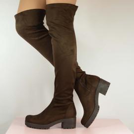 Brown Suede Thigh High Platform Boots Textured Sole