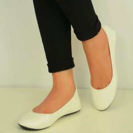 WHITE PU BALLERINA PUMPS