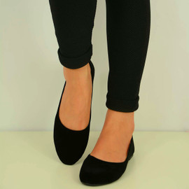 BLACK SUEDE BALLERINA DOLLY PUMPS