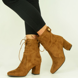 Camel Mid Block Heel Lace Up Ankle Boots