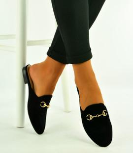 Black Flat Slippers Sandals