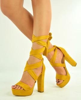 Yellow High Block Heel Platform Sandals