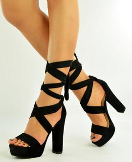 Black High Block Heel Platform Sandals