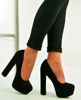 Black High Block Heel Platform Sandals Pumps