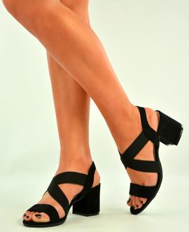 Black Low Block Heel Peep Toe Sandals