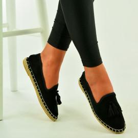 Black Suede Tassel Slip On Loafers
