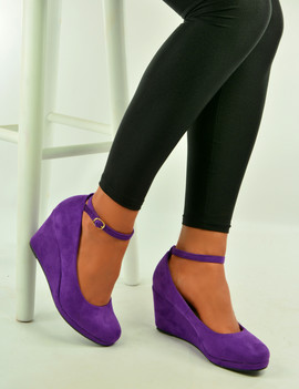 Lorene Purple Suede Wedge Pumps Sandals