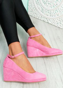 Lorene Pink Suede Wedge Pumps Sandals
