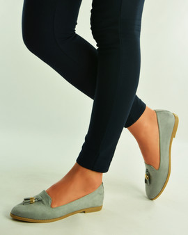 GREY TASSEL SLIP ON LOAFERS