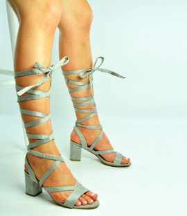 Grey Ankle Tie Lace Up Peep Toe Sandals