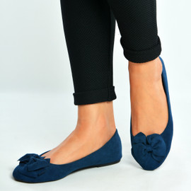 Navy Bow Slip On Ballerinas
