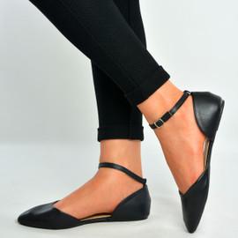 Black Pu Ankle Strap Flat Ballerinas