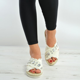 Beige Diamond Flat Sandals