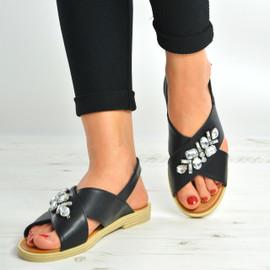 Black Slingback Flat Diamante Sandals