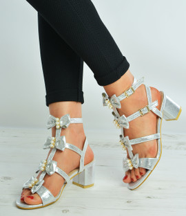 Silver Pearl Bow Ankle Sandals