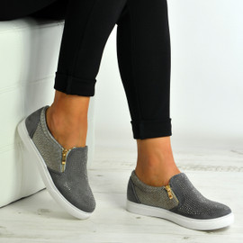 Scarlett Grey Studded Slip On Trainers