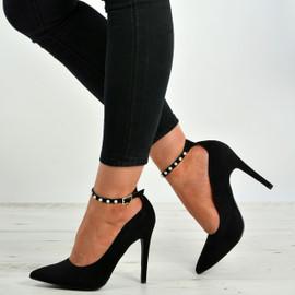 Callie Black Suede Stiletto Pumps
