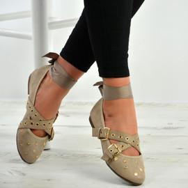 Kenley Khaki Ankle Wrap Ballerina