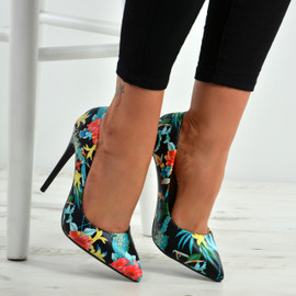 Jaycee Black Floral Stiletto Pumps