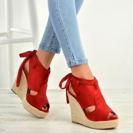 Melany Red Wedge Platform Sandals