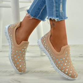 Danielle Beige Studded Trainers