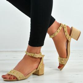 Kaylen Beige Mid Heeled Sandals