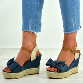 Tatum Blue Wedge Platform Sandals