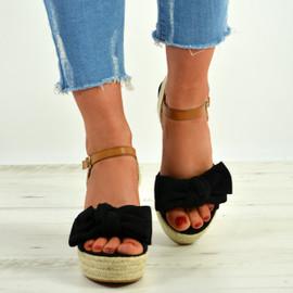 Tatum Black Wedge Platform Sandals