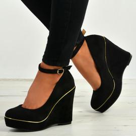 Cindy Black Ankle Strap Wedges