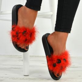 Nicole Red Fur Sandals
